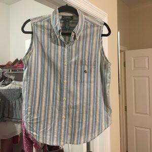 Ralph Lauren sleeveless striped button down